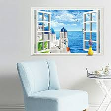 Kaimao Romantic Aegean Sea 3d Window Decal Wall Sticker Art Murals Removable Wallpapers For Home Decoration Living Room Windows Home Decor Wall Decor Stickers