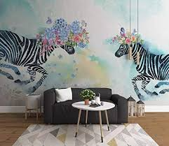 Amazon Com Murwall Nursery Wallpaper Zebra Wall Mural Flowery Animal Wall Art Childroom Wall Decor Kids Room Baby Room Play Room Handmade