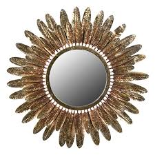 large antiqued gold feather mirror
