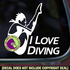 I Love Diving Female Springboard Diver Vinyl Decal Sticker Gorilla Decals