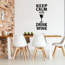 Popular Quote Wall Decal Keep Calm And Drink Wine Quote Wall Decal Glass Sticker Home Decor Bar Decal Kitchen Mural W12 Wall Stickers Aliexpress