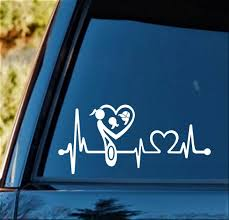 Amazon Com Bluegrass Decals K1143 Mother Mom Loves Holding Boy Girl Twins Heartbeat Lifeline Decal Sticker Automotive