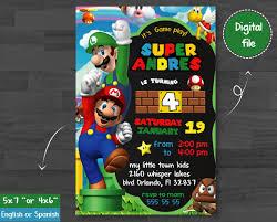 Super Mario Invitation Mario Bross Birthday Mario Bross Party
