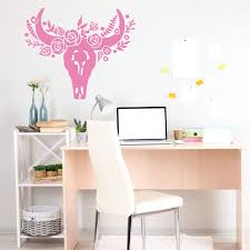 Skull With Bow Wall Decal Sugar Vinyl Punisher Art Flower Deer Colorful Vamosrayos