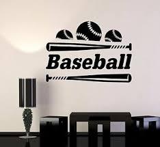 Vinyl Wall Decal Baseball Bat Ball Word Sports Room Stickers Mural 431ig Ebay