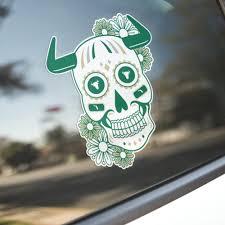 Razorbacks Themed Cardinal White Sugar Skull Tusks Vinyl Decal Sticker Gameday Of The Dead