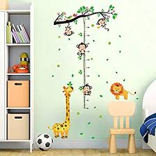 Amazon Com Decalmile Animal Monkey Tree Height Chart Wall Stickers Giraffe Lion Kids Measure Growth Wall Decals Baby Nursery Kids Bedroom Living Room Wall Decor Arts Crafts Sewing