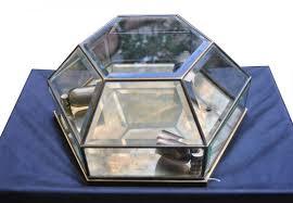 brass clear cut crystal wall light