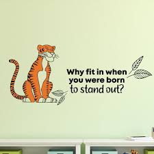 Zoomie Kids Stand Out Tiger Animal Life Cartoon Quotes Decors Wall Sticker Art Design Decal For Girls Boys Kids Room Home Decor Wall Art Vinyl 20x40 Inch Wayfair