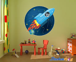 Alien Rocket Ship Stars And Earth Wall Decal
