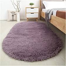 Amazon Com Softlife Fluffy Area Rugs For Bedroom 2 6 X 5 3 Oval Shaggy Floor Carpet Cute Rug For Girls Room Kids Room Living Room Home Decor Grey Purple Home Kitchen