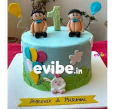 Order Unique First Birthday Cake For Twins Online Birthday Cake In Bangalore Free Home Delivery Evibe In