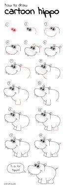 Pin by Priscilla Fox on Elementary Art   Cartoon hippo, Hippo drawing,  Cartoon drawings