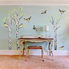 Birds And Birch Trees Watercolor Wall Decal Kit Nature Wall Decal By Chromantics