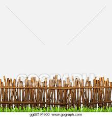 Vector Clipart Rustic Fence With Grass Vector Illustration Gg62194900 Gograph