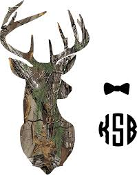 Amazon Com Yeti Cup Monogram Deer Camo Sticker Decal Leave Me Your Initials And The Color If You Choose To Change Letters Or Bowtie Color Please Read The Descriptions Everything Else