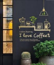 Coffee Shop Sticker Decal Cafe Cup Poster Vinyl Art Wall Decor Mural Decoration Break Bread Coffee Glass Decals Nordic Wall Canvas Home And Decoration