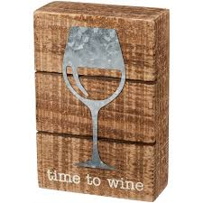 Time To Wine Box Sign Wall Decor
