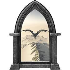 Amazon Com 24 Castle Scape Black Dragon 2 Granite Wall Decal Fantasy 3d Window Wall Sticker Fairy Tale Kids Bedroom Wall Art Removable Vinyl Game Of Thrones Home Kitchen