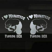 I Love Manatees Manatee Florida Usa Ocean Life Set Of 2 Silver 7 Decal Stickers Ebay