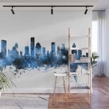 Houston Skyline Wall Murals For Any Decor Style Society6