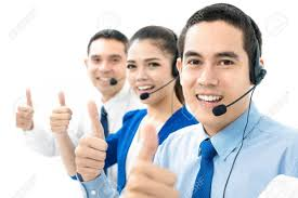 Call Center (or Telemarketer) Team Giving Thumbs Up Stock Photo ...