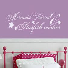Beach Wall Decal Mermaid Kisses Starfish Wishes Quote Vinyl Living Bedroom Decor Ebay