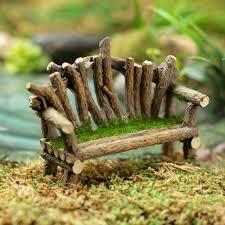 miniature fairy garden twig bench