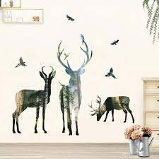Deer Wall Decal Elk Art Sticker Pvc Self Adhesive Forest Woodland Wall Decorative Sticker For Living Room Bedroom Removable Removable Wall Decals For Bedroom Removable Wall Decals For Kids From Carrierxia 3 22