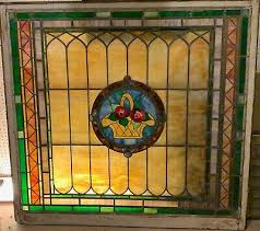 large stained glass window featuring
