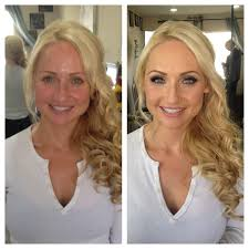blonde before after makeup hair