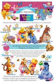 Kit Imprimible Winnie Pooh Invitaciones Tarjetas Cajas Fondos