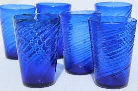 glass tumblers cobalt blue swirl