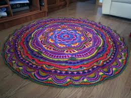 mandala tapestry crochet round rug boho