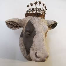 cow head wall mount painted white putty