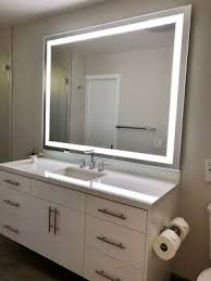 led bathroom mirror with frosted stripe
