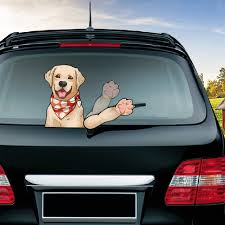 New Car Styling Labrador Dog Waving Wiper Decals Pvc Rear Window Wiper Sticker Rear Windshield Car Stickers For Auto Decoration Car Stickers Aliexpress