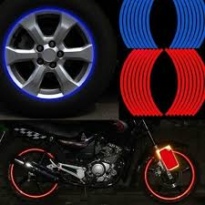 16 Strips Bike Motorcycle Car Wheel Reflective Decal Rim Stripe Tape Stickers For 18 Inch Tires Wish