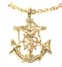 24k gold layered anchor pendant