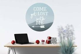 Come Get Lost With Me Adventure Decal Circle Mountain Landscape Wall Decal Explore Wall Sticker Dorm Decorations College Dorm Decorations Mountain Wall Art