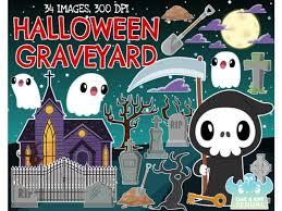 Halloween Graveyard Clipart Lime And Kiwi Designs By Lime And Kiwi Designs Thehungryjpeg Com