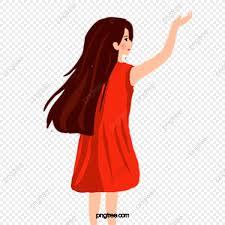 الكرتون طويل الشعر الأحمر أنثى كرتون فتاة شعر طويل Png وملف Psd