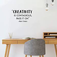 Amazon Com Vinyl Wall Art Decal Creativity Is Contagious Pass It On 17 X 29 Albert Einstein Inspirational Life Quote For Home Apartment Bedroom Living Room Classroom School Office Decoration