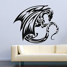 Amazon Com Dragon Wall Decals Fire Flying Tribal Removable Decor Vinyl Stickers Mural Mk1052 Home Kitchen