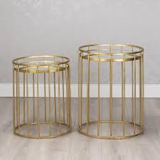 gold glass metal set of 2 round caged