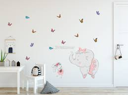 Kids Pink Ballerine Elephant And Bunny With Little Butterflies Wall Decal Sticker Wall Decals Wallmur