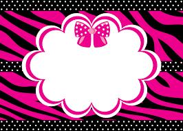 Invitaciones Con Fondo Cebra Y Lazos Rosa Para Imprimir Gratis