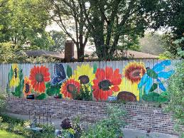 Sunflower Fence Mural Painting By Sewist