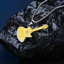 18k 24k gold diamond guitar pendant