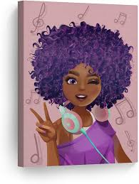 Amazon Com Smileartdesign Purple Haired African Girl Earphones Pink Background Digital Painting Canvas Print Kids Room Wall Art African Art Nursery Home Decor Ready To Hang 100 Made In The Usa 17x11